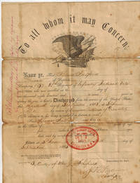 1863 Civil War Discharge of Thomas Fulford, Private, Company B, 64th Regiment of Infantry, Indiana Volunteers, By Order of Maj. Gen. Schofield