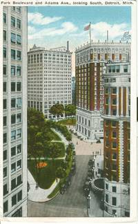 Park Boulevard and Adams Ave. looking South, Detroit, Michigan, 1910s-1920s unused Postcard