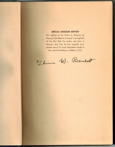 New York: Robert M. McBride and Company, 1937. SIGNED BY ARTIST Thomas hart Benton at Colophon. Very...