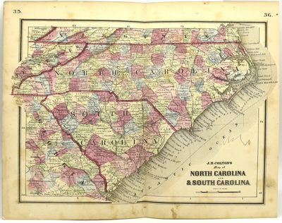 New York: J. H. Colton, 1865. Colored engraved map, with a bit of creasing at the fold. 11 3/4 x 9 1...