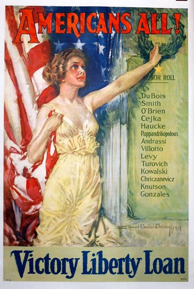 Boston: Forbes, 1919. poster. Near fine condition. World War I bond poster conservation mounted on p...