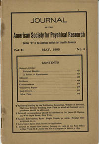 image of JOURNAL OF THE AMERICAN SOCIETY FOR PSYCHICAL RESEARCH. Volume II. No. 5. May, 1908.