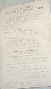 image of WORLD WAR I: SOUTH AFRICAN RECORD OF SERVICE FORM