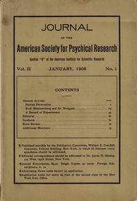 image of JOURNAL OF THE AMERICAN SOCIETY FOR PSYCHICAL RESEARCH. Volume II. No. 1. January, 1908.