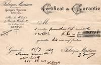 Swiss Certificate of Guarantee for Jewelry from Fabrique Maxima, Horlogerie, Bijouterie, Orfevrerie, Geneva to M. Seitz, 5th Avenue, New York