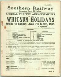 Special Traffic Arrangements for the Whitsun Holidays London East Division Friday to Sunday,june...