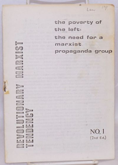 London: Revolutionary Marxist Tendency, 1980. Pamphlet. 14p., wraps clumsily stapled and handling-so...