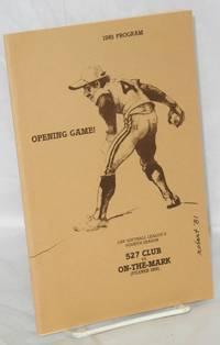 1981 program for the opening game of Gay Softball League's fourth season, 527 Club vs On-the-Mark (Pilsner Inn)