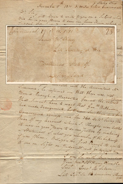Cincinnati, 1810. Unbound. Very good. This stampless one-page folded letter measures 15.5