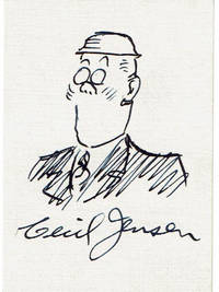 PEN-AND-INK COLONEL MCCOSMIC CARTOON SIGNED BY AMERICAN EDITORIAL CARTOONIST CECIL JENSEN TOGETHER WITH A SIGNED MAILING ENVELOPE.
