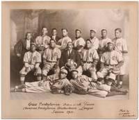 [Original Team Portrait Photograph of an African-American Baseball Team]: Grace Presbyterian Base Ball Team Champions Presbyterian Brotherhood League Season 1911
