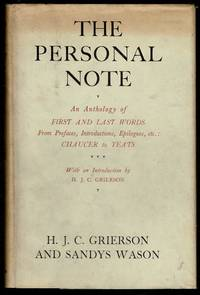 image of The Personal Note or, First and Last Words from Prefaces, Introductions, Dedications, Epilogues