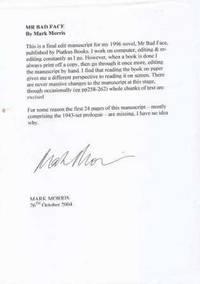 MR BAD FACE - signed unbound manuscript