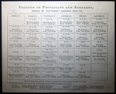 New York, NY: College of Physicians and Surgeons, 1873. Card, printed two sides, with the calendar d...