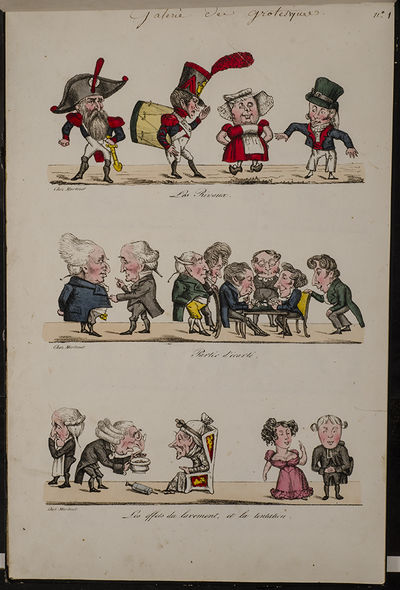 Paris: Martinet, 1821. Galerie des Grotesques . . : Martinet, . Oblong folio (16 x 10 1/2 inches; 40...