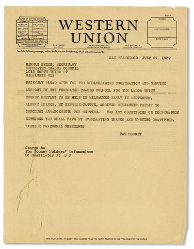 San Francisco, 1939. Original telegraph message on Western Union letterhead (27.5x21.5cm.) addressed...