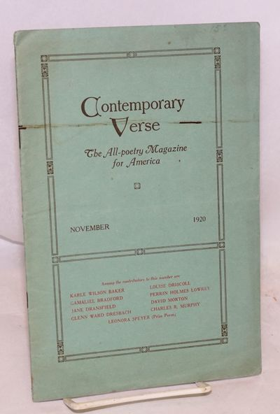 Philadelphia: Charles Wharton Stork, 1920. pp. 161-176, creased wraps. Poets include Karle Wilson Ba...