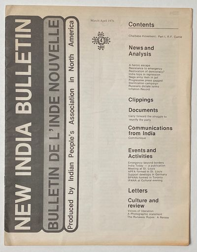 Montreal: Indian People's Association in North America, 1976. 20p., 8.5x11 inch newsletter, some une...
