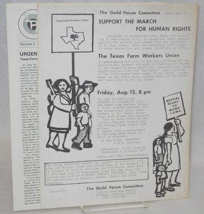 Chicago: Guild Forum Committee, 1977. 8.5x11 inch handbill soliciting support for the Texas Farm Wor...