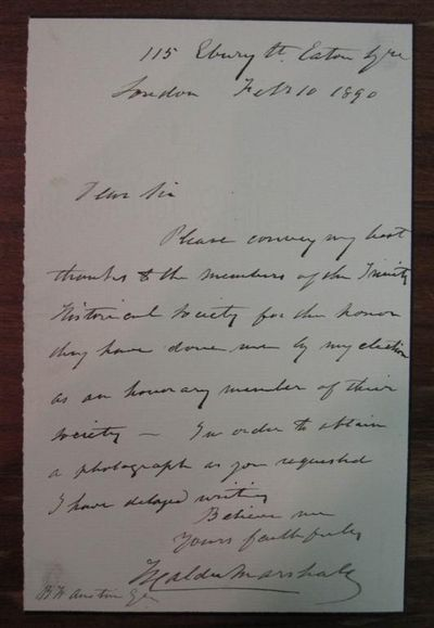 London, 1890. unbound. Interesting autographed letter signed