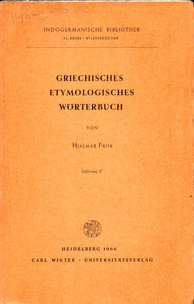 Heidelberg: Carl Winter, 1966. Paperback. Very good. 577-672pp. Wraps tanned, else very good.