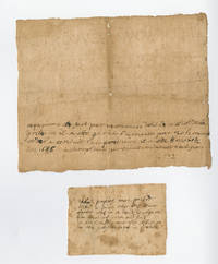 1686 Huguenot Protestant religious prisoner's pin prick note, with notes of wife and child, and 1842 letter of Dr. Johnson Eliot, a founder of Georgetown Medical College