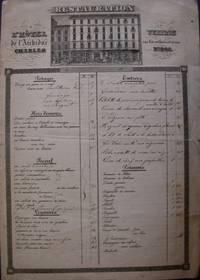 Printed and Manuscript Menu and Wine List