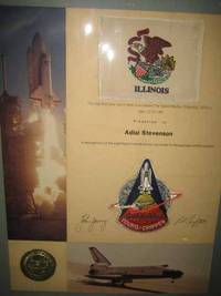 """This flag and crew patch were flown aboard the Space Shuttle """"Columbia"""" (STS-1) / April 12-14, 1981 /  Presented to /  Adlai Stevenson /  In recognition of the significant contributions you made to the success of this mission"""
