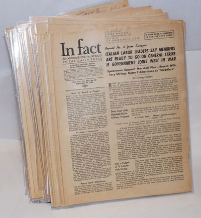 New York: In Fact, Inc, 1950. Magazine. Eighty three issues of the weekly newsletter spanning the pe...