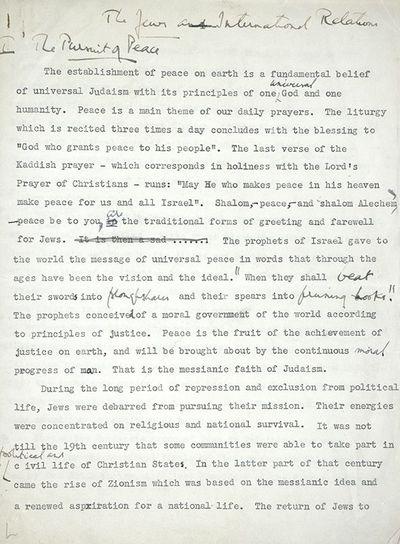 c. 1950. Rare manuscript written by Mandatory Palestine's first attorney general, British Zionist No...