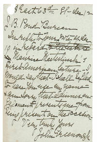 AUTOGRAPH LETTER TO JAMES B. POND OF THE POND LECTURE BUREAU SIGNED BY PRESIDENT OF THE AMERICAN GEOGRAPHICAL SOCIETY JOHN GREENOUGH.