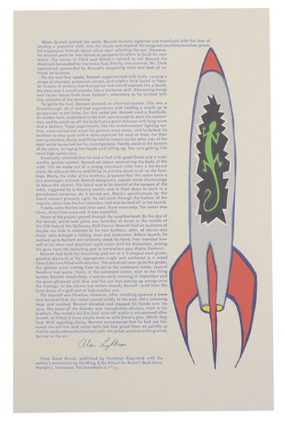 Memphis, TN: The Wing & The Wheel / Burke's Book Store, 1995. First edition. Broadside printed in se...