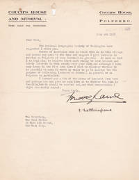 image of TYPED LETTER TO THE POND LECTURE BUREAU, SIGNED BY LIEUTENANT F. T.  NETTLEINGHAME, COMPILER OF