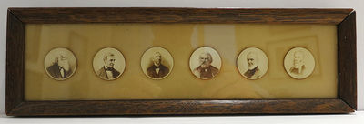N. p., n. p., n.d.. The board is a little darkened and stained on the verso and is held in the frame...