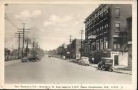 image of View of Roseberry Street East_CNR Depot, Campbellton, New Brunswick, Canada on circa 1940 White Border Monochrome Postcard