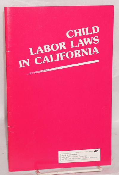 San Francisco: Division of Labor Standards Enforcement, 1988. Pamphlet. ii, 30p, stapled wraps, 5.75...