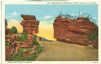 Balanced and Steamboat Rocks, Garden of the Gods, Pikes Peak Region, Colorado 1920s Postcard