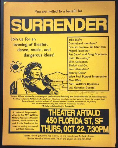 San Francisco: Theater Artaud, 1992. 8.5x11 inch handbill, printed one side, paper toned. Lauren Eld...