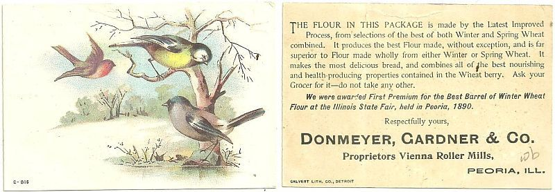VICTORIAN TRADE CARD FOR VIENNA ROLLER MILLS FLOUR, PEORIA, ILLINOIS WITH BIRDS IN A SNOWY LANDSCAPE, Advertisement