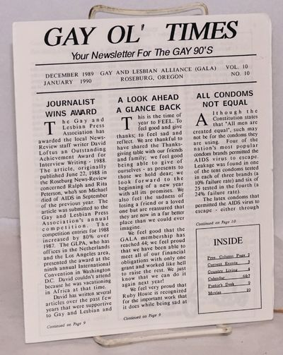 Roseburg, OR: GALA, Gay and Lesbian Alliance, 1989. 12p. newsletter, sheets folded to 7x8.5 inches, ...