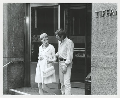 N.p.: N.p., 1968. Vintage reference photograph of Roman Polanski and Mia Farrow in front of the flag...