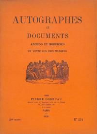 Catalogue no.224/1938 (38e année) : Autographes et Documents Anciens et  Modernes.