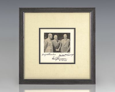 1968. Black and white photograph of Presidents Dwight D. Eisenhower, Herbert Hoover and Harry S. Tru...