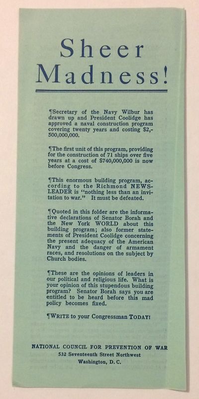 Washington: National Council for Prevention of War, . Small four panel brochure, 4x8 inches, creased...