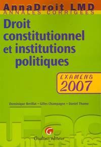 image of Droit constitutionnel et institutions politiques : Examens
