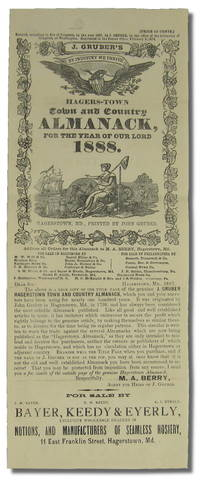 Hagers-Town Town and Country Almanack For the Year of Our Lord 1888  [Advertising Flyer]