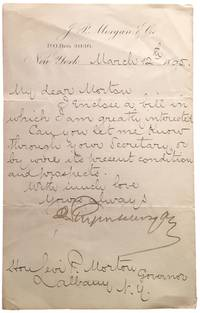 Letter Signed to Gov. Levi P. Morton of New York