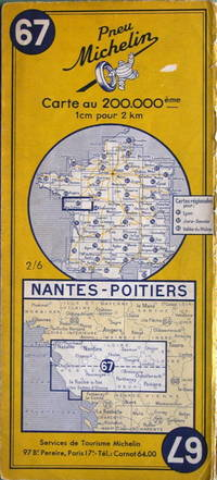 Nantes - Poitiers by Michelin - No. 67, 1:200,000 - 1955 - from Acanthophyllum Books and Biblio.com