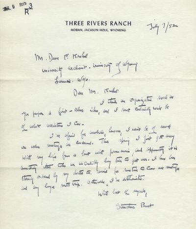 Jackson Hole, Wyoming, 1952. An autographed letter signed by Maxwell Struthers Burt (1882 - 1954) wr...