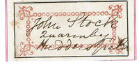 AUTOGRAPH of the Nineteenth Century Baptist minister JOHN STOCK, LLD.